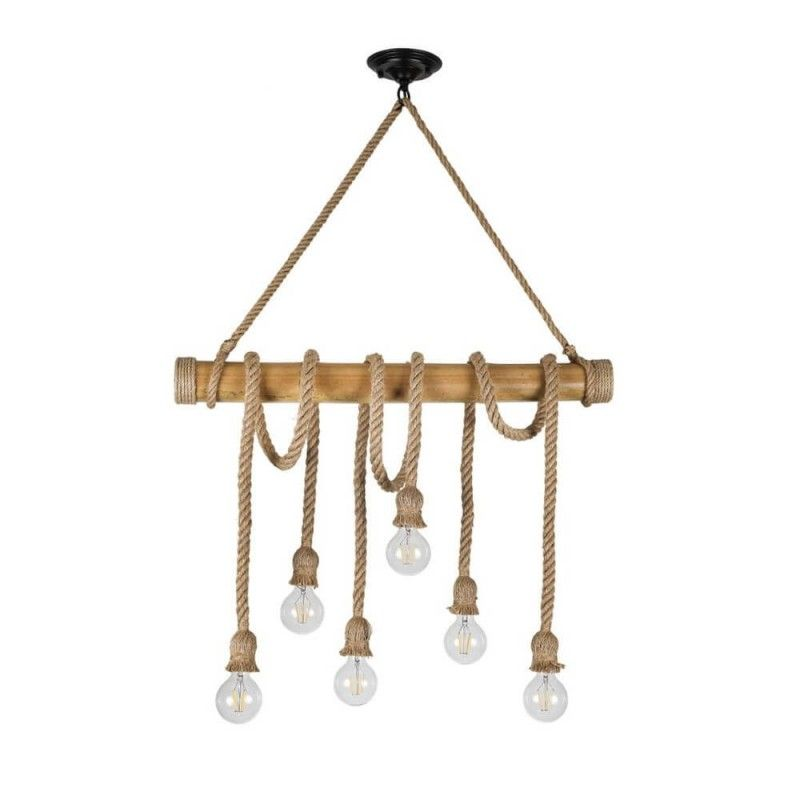 Lámpara De Techo Tronco Cuerda 6xE27
